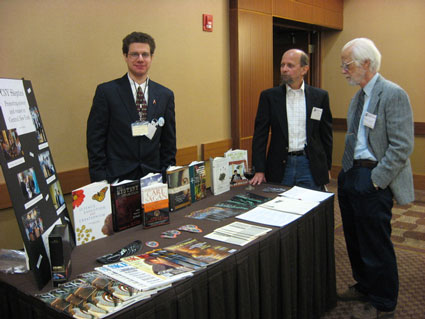 CNY Skeptics information table at the Celebration of Technology Banquet. Pictured are David Harding, Michael Kingston, and Bryce Hand