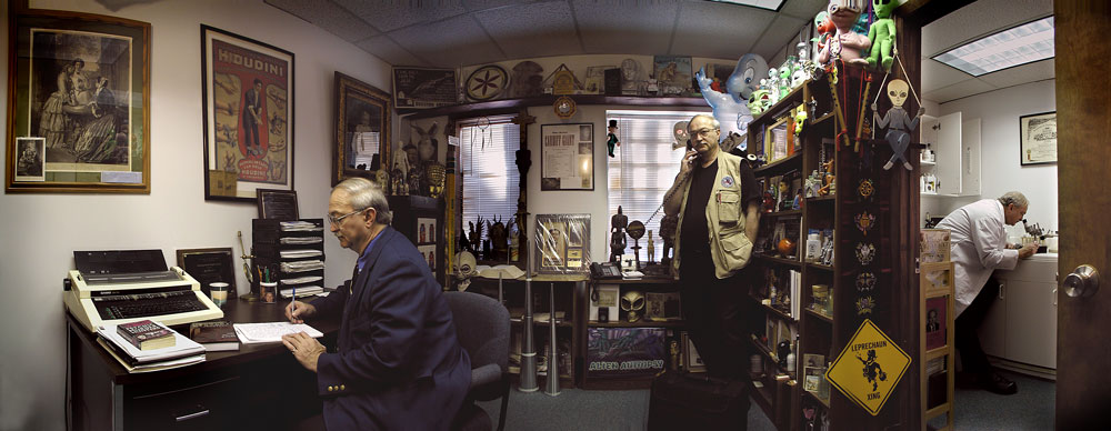 Joe Nickell at work in his office and laboratory at the Center for Inquiry